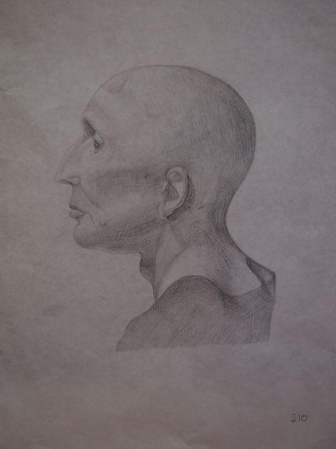fotografie Výběr klauzurních prací 2. ročník - Figurální kresba - vyučující ak.mal. Lockerová, Mgr. Vránová - 1. pololetí 2016-2017
